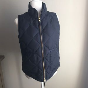 J. Crew navy quilted down vest with gold zipper